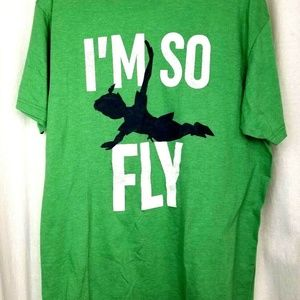 Disney Parks tee shirt L green flying Peter Pan